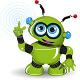 Gladlynt grön robot Arkivfoton
