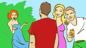 Gladlynt grupp av ungdomaravslappnande det fria och att prata tillsammans på en sommardag Arkivfoton