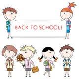gladlynt gullig ungeskola stock illustrationer