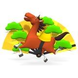 Gladlynt häst och guld- fan Arkivbild