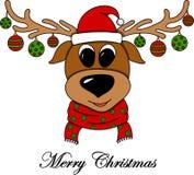 Gladlynt illustration för ` s för nytt år med en julhjort stock illustrationer