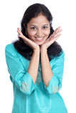 Gladlynt indisk kvinna Royaltyfri Fotografi