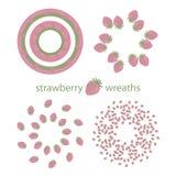 Gladlynt krans för ljus positiv färgrik sommar av rosa jordgubbar stock illustrationer
