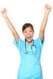 gladlynt lycklig isolerad medicinsk sjuksköterskakvinna Royaltyfri Bild