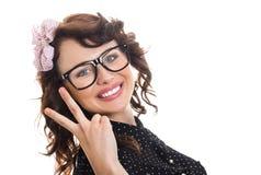 Gladlynt lycklig ung kvinna royaltyfria bilder
