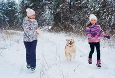 Gladlynt mamma och hennes gulliga dotter med deras hundgolden retriever i vinter arkivfoto