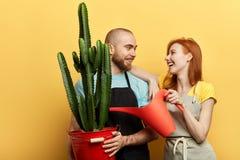Gladlynt man och kvinna som bevattnar blommor arkivfoton