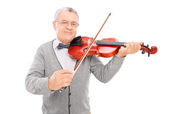 Gladlynt mogen man som spelar en fiol Royaltyfri Fotografi