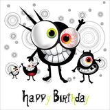 Gladlynt monster för lycklig födelsedag stock illustrationer