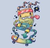 Gladlynt monster på skateboarden Tecknad filmillustration för tryck och rengöringsduk Tecken i den moderna grafiska stilen royaltyfri illustrationer