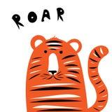 Gladlynt och busig illustration för vektor för tigergröngöling för en vykort vektor illustrationer