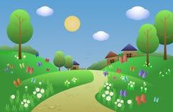 Gladlynt och gladlynt landskap för en bok för barn s med gröna kullar, tusenskönor, fjärilar, träd och byn i backgroen royaltyfri illustrationer