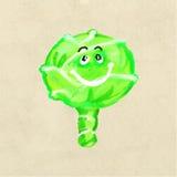 Gladlynt och lycklig kål, grönsaktecken med glade sinnesrörelser stock illustrationer