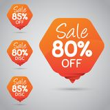 Gladlynt orange etikett för att marknadsföra återförsäljnings- beståndsdeldesign 80% 85% Sale, diskett, av på stock illustrationer