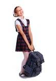 Gladlynt skolflicka Fotografering för Bildbyråer