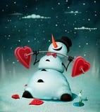 gladlynt snowman royaltyfri illustrationer
