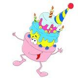 Gladlynt teckenefterrätt födelsedagcaken undersöker illustrationvektorn Arkivfoto
