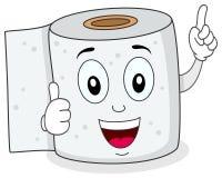 Gladlynt toalettpapper som ler teckenet Royaltyfri Bild
