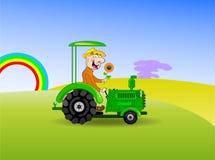 Traktor-chaufför stock illustrationer