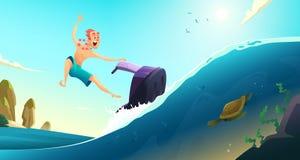 Gladlynt turistritt på en vattensparkcykel Sommarferier i varma länder den främmande tecknad filmkatten flyr illustrationtakvekto Royaltyfria Bilder