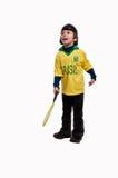 Gladlynt ung pojke med tennisracket Arkivfoton
