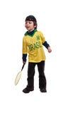 Gladlynt ung pojke med tennisracket Royaltyfri Bild