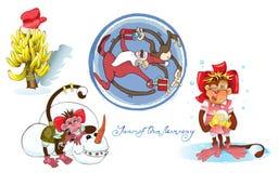 Gladlynta apor med jultomten och bananer Royaltyfri Foto