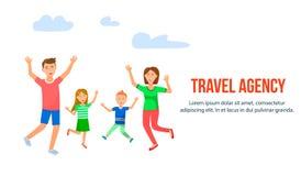 Gladlynta föräldrar med ungar som hoppar och att jubla stock illustrationer