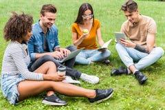 Gladlynta fyra studenter som har, vilar av gräsmatta arkivfoto