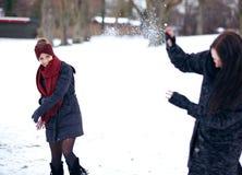 Gladlynta kvinnor som tycker om snön Arkivbild