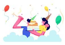 Gladlynta par i festliga hattar som firar ferie för födelsedagparti Jubla mannen som spelar röret, flickainnehavkaka stock illustrationer