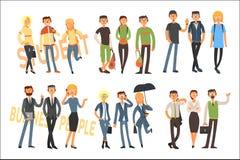 Gladlynta studenter och affärsfolk Unga flickor och grabbar i tillfällig dräkt Kontorsarbetare i formell kläder plant vektor illustrationer