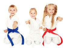 Gladlynta unga barn i kimono sitter i en ceremoniell karate poserar och slår en isolerad arm Arkivfoto