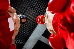 Gladlynta unga boxare förbereder sig för kamp Arkivbild