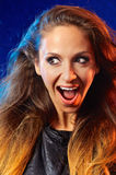 Gladness. Emotional portrait of happy young woman royalty free stock image