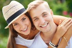 Gladness. Joyful couple looking at camera royalty free stock photo