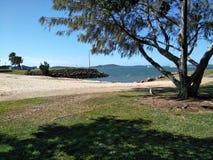 Gladstone Spinnaker Park Beack. Manmade beach in Gladstone Queensland at spinnaker park stock photography
