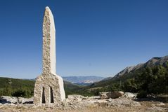 Glagolitic Monument. Monument representing the first letter of the very old Glagolitic alphabet, at the entrance of the Baska valley, Croatia Stock Photos