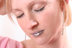 Glam. Beautiful young woman with shiny make-up Royalty Free Stock Photo