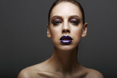 Glam. Classy Ambitious Woman with Glossy Bright Makeup. Elegance Stock Photos