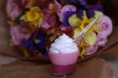 Glam dessert with cream Royalty Free Stock Images