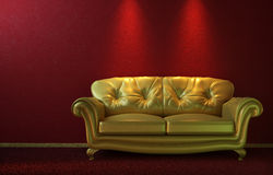 Glam golden couch on red. Interior design of glamorous golden couch on a red wall with copy space on top Stock Photos