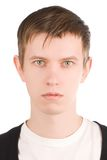 Glam guy. Portrait of young guy with creativity hairstyles. Studio shot on a white background Stock Photography