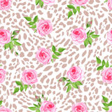 Glam leopard seamless vector print. Glam leopard and roses seamless vector print Stock Photos