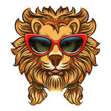 Glam lion with red sunglasses Stock Photography