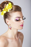 Glam. Profile of Fashionable Woman with Amazing Fantastic Eye Make-up. Glamorous Fashion Girl with trendy Fantastic Eye Makeup Royalty Free Stock Image