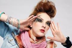 Glam punk girl. Portrait of glam punk redhead girl posing Royalty Free Stock Photos