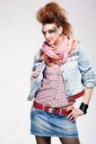 Glam punk girl. Portrait of glam punk redhead girl posing Royalty Free Stock Photography