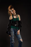 Glam punk girl. Portrait of glam punk redhead girl Royalty Free Stock Photography