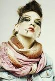 Glam punk girl smoking Stock Images